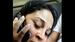 girl sucking her lover's cock and talking to her boyfriend's cuckold on the phone
