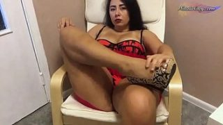 Brunette Jerking off Pussy and Playing with Panties