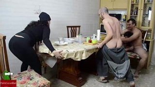 Orgy at breakfast. Mature woman and fat woman want milk GUI002