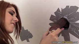 Rose Red Tyrell Fucks A Black Guy's Cock At A Glory Hole